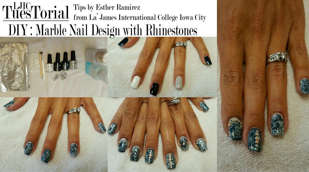 DIY : Marble Nail Design with Rhinestones - La\' James International ...