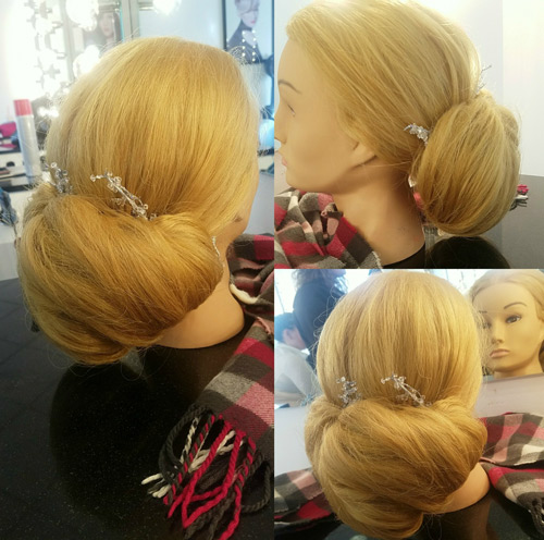 Blonde mannequin romantic up-do
