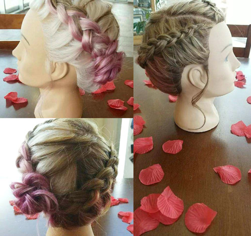 Blonde french braided up-do