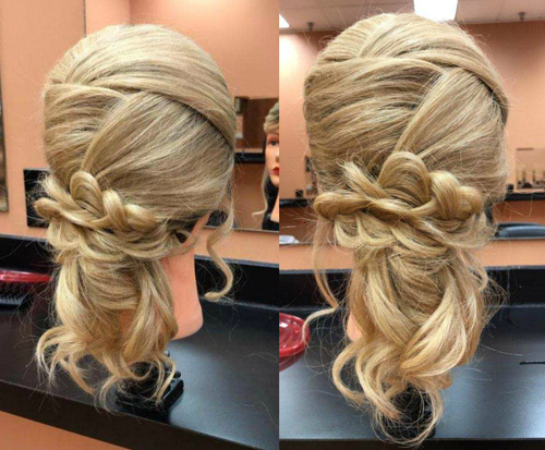 Blonde mannequin romantic hair style