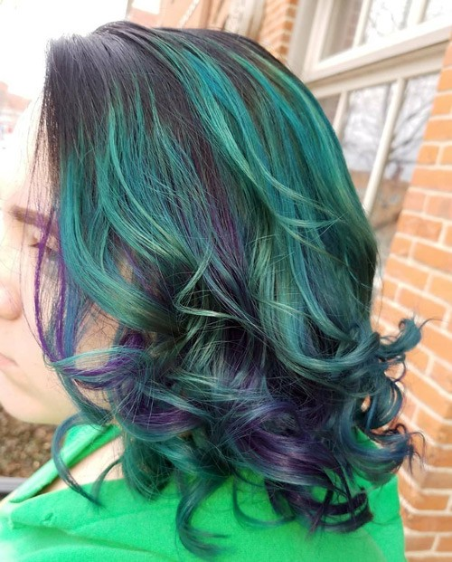 Teal and Purple Curly Hair